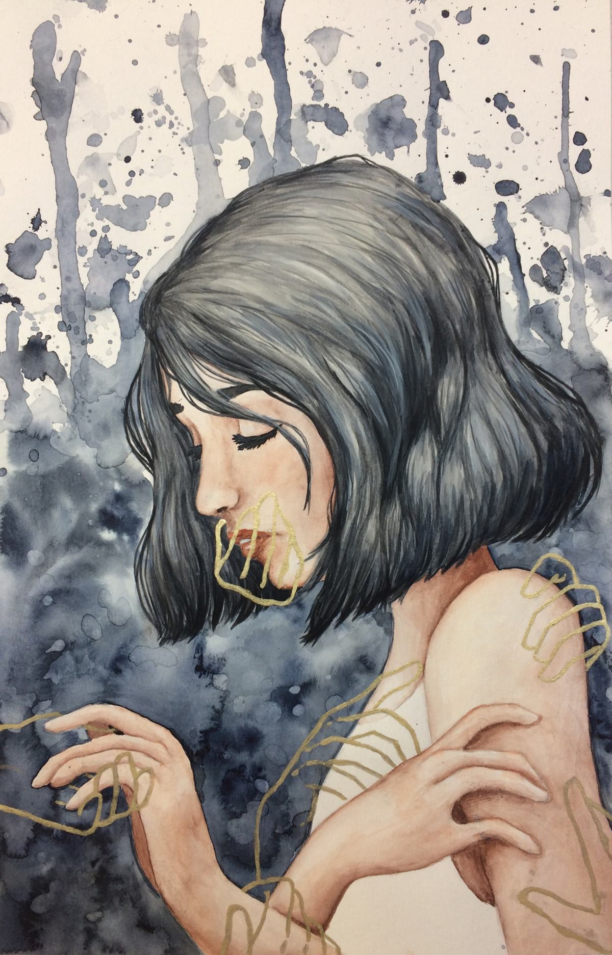 Watercolor of a dark-haired girl, seen in profile. Outlines of hands touch her arms and shoulder and cover her mouth.