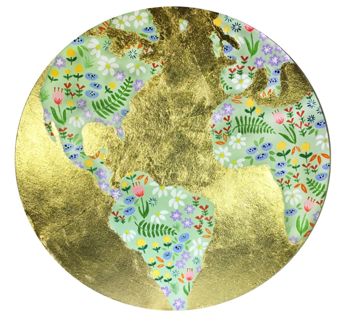 Artwork shows a map of the world with continents in green with dots of color and oceans in gold.