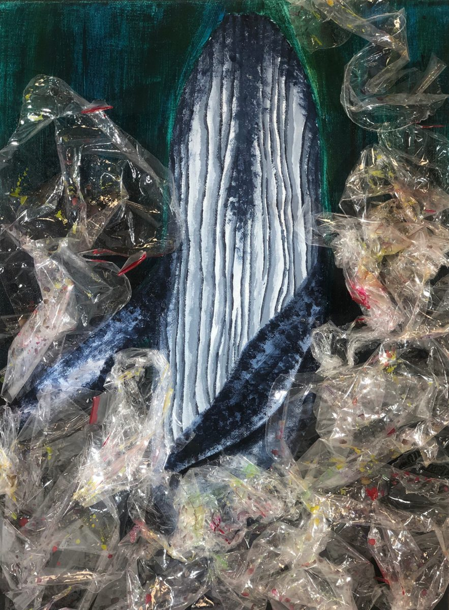 Mixed media artwork showing a whale rising out of waste plastic.