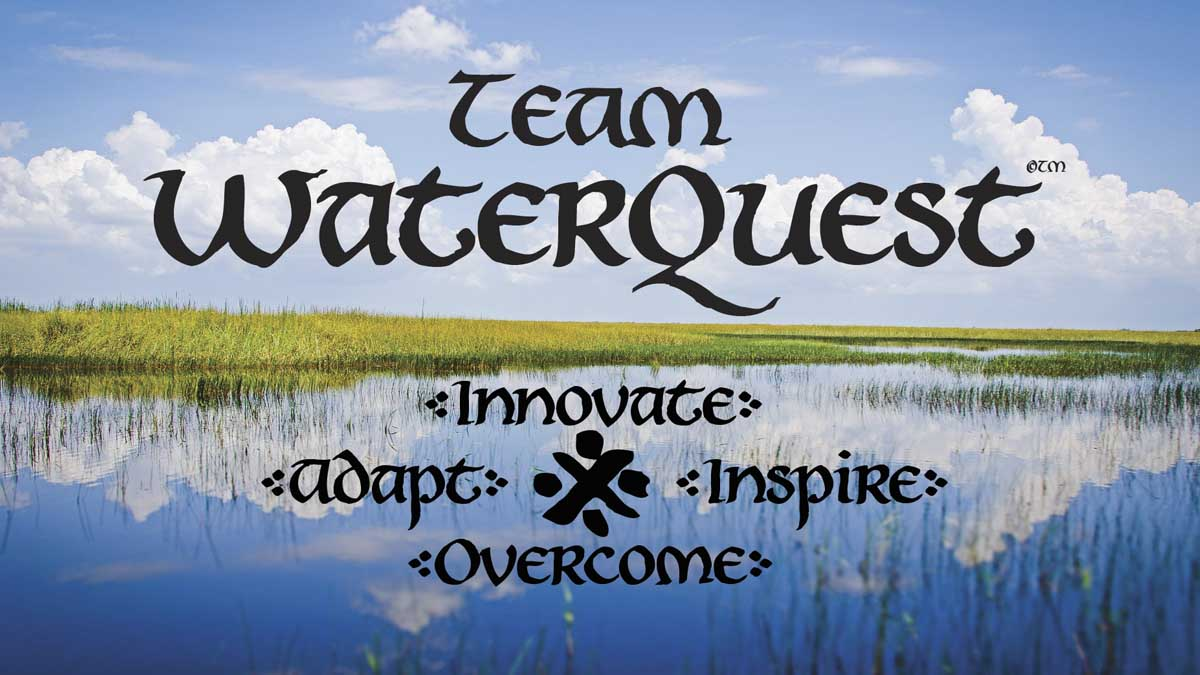 Team WaterQuest logo with wording innovate, adapt, inspire and overcome with a water background.