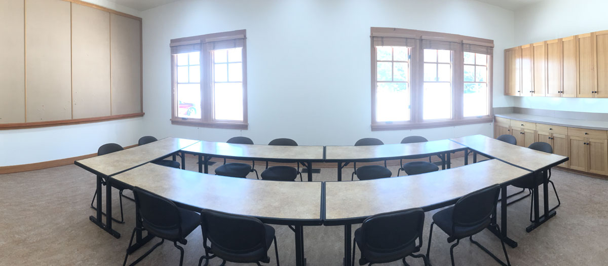 Spigold classroom with tables at the Sandpoint Organic Agriculture Center