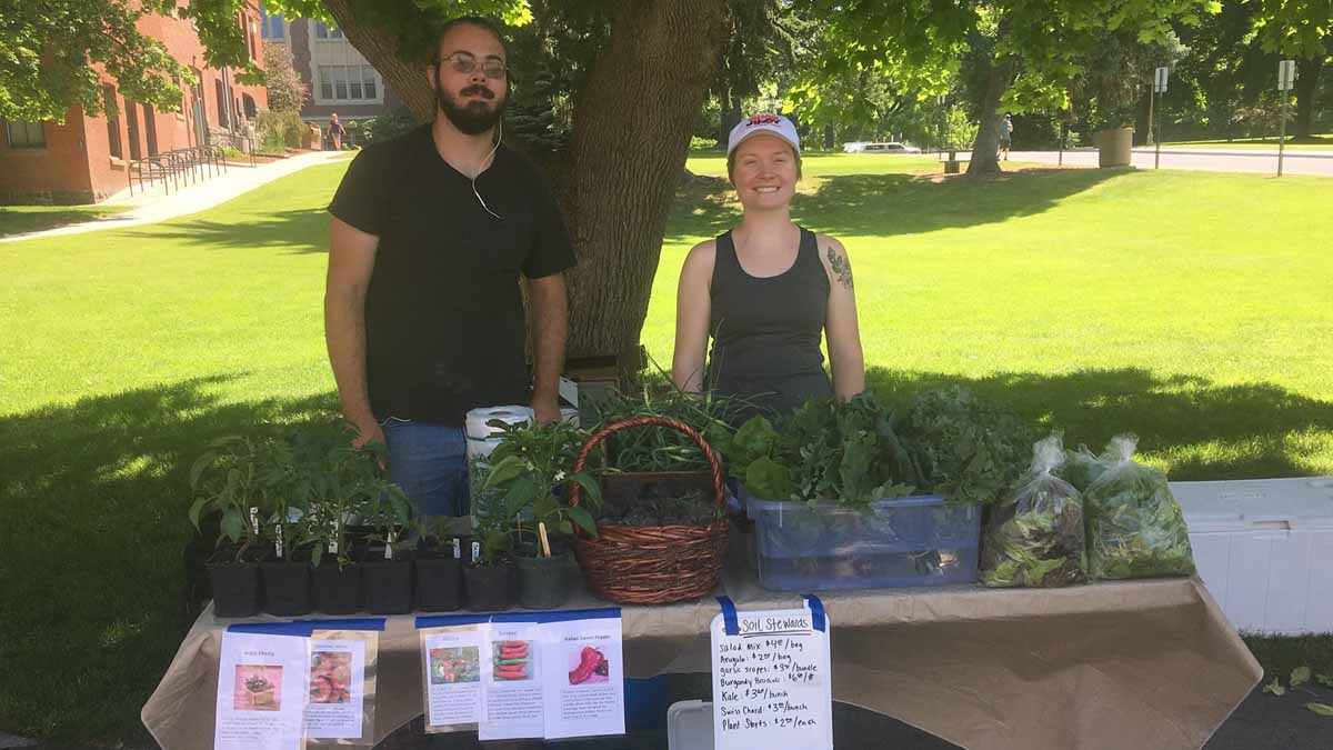 Kevin and Kristina at the first produce sale by Soil Stewards Farm outside of the Idaho Commons.