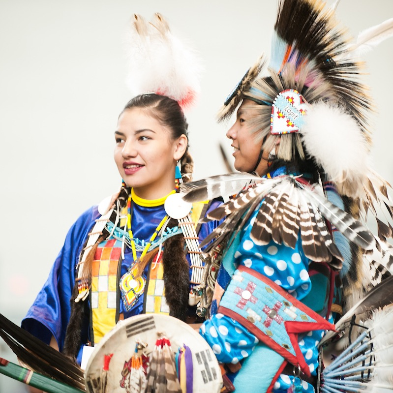 Two people in traditional native american dress.