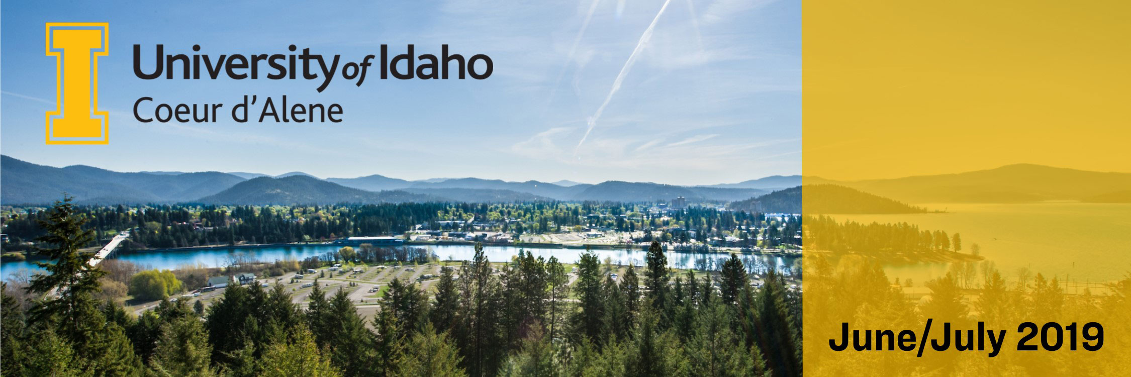 "An aerial picture of Coeur d'Alene overlaid with the text ""June/July 2019"""