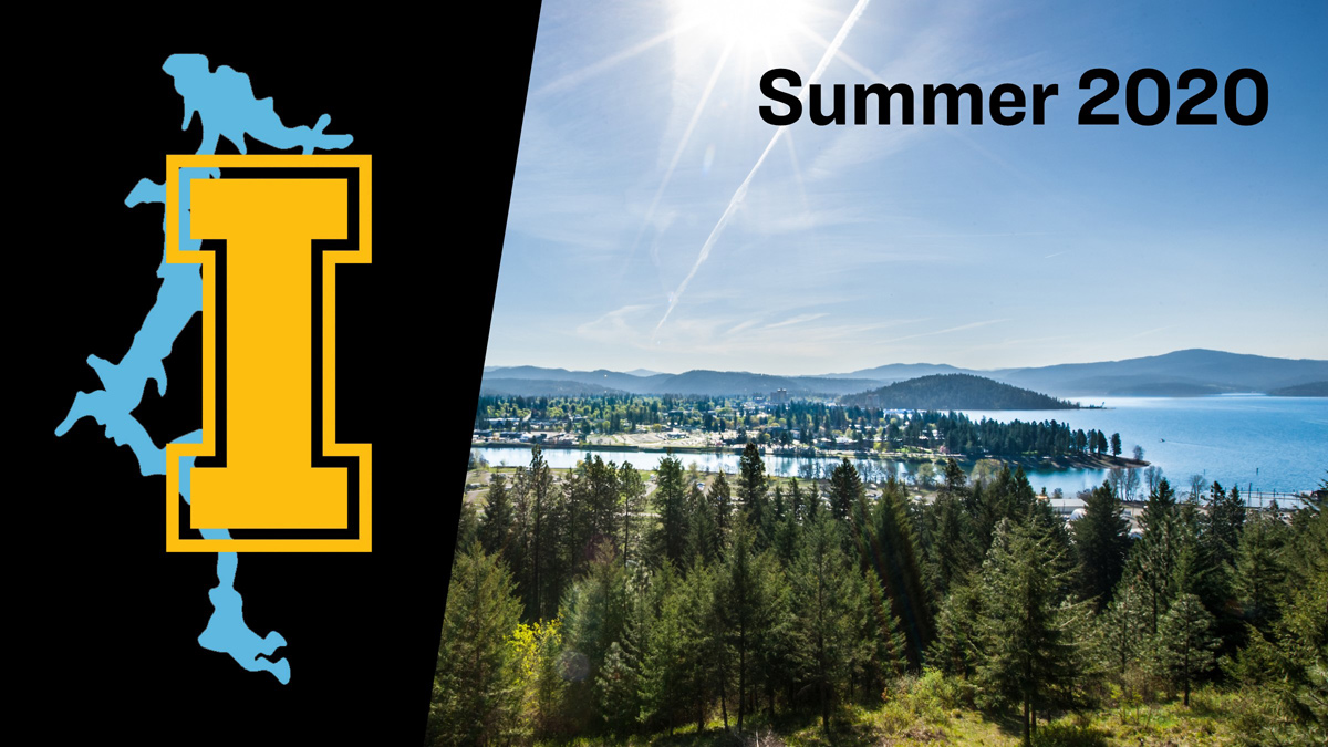 "A picture of Coeur d'Alene lake with the text ""Summer 2020"""