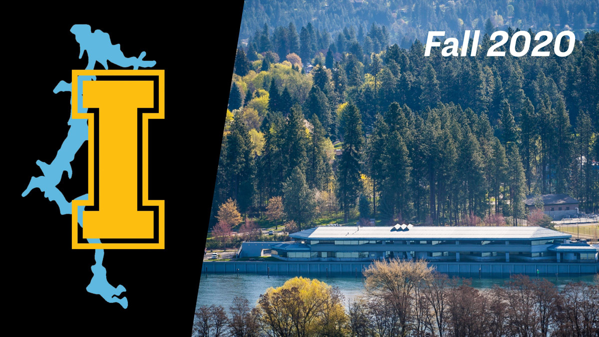 "A picture of Coeur d'Alene lake with the text ""Fall 2020"""