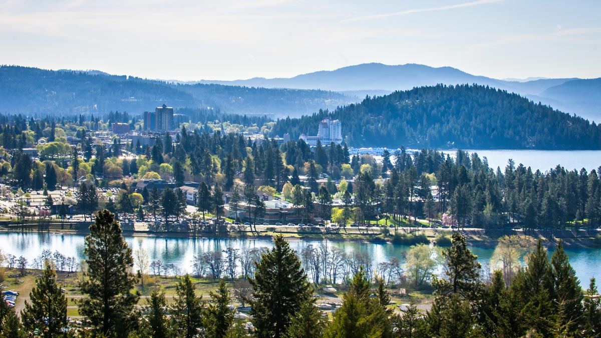 Coeur d'Alene lake and the city.