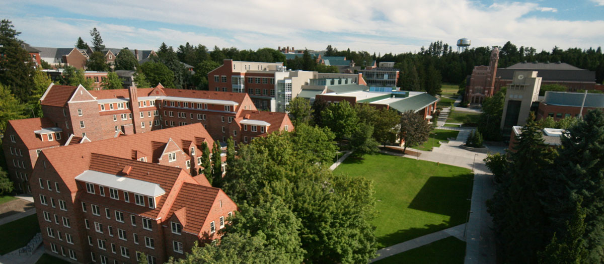 An aerial view of Brink Hall which is home of the English Department; the Idaho Commons; and the Library.