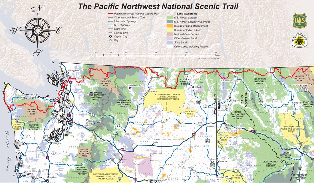 A map showing the route of the Pacific Northwest Scenic Trail, leading from the Olympic Peninsula, following the Canadian Border and ending in Glacier National Park.