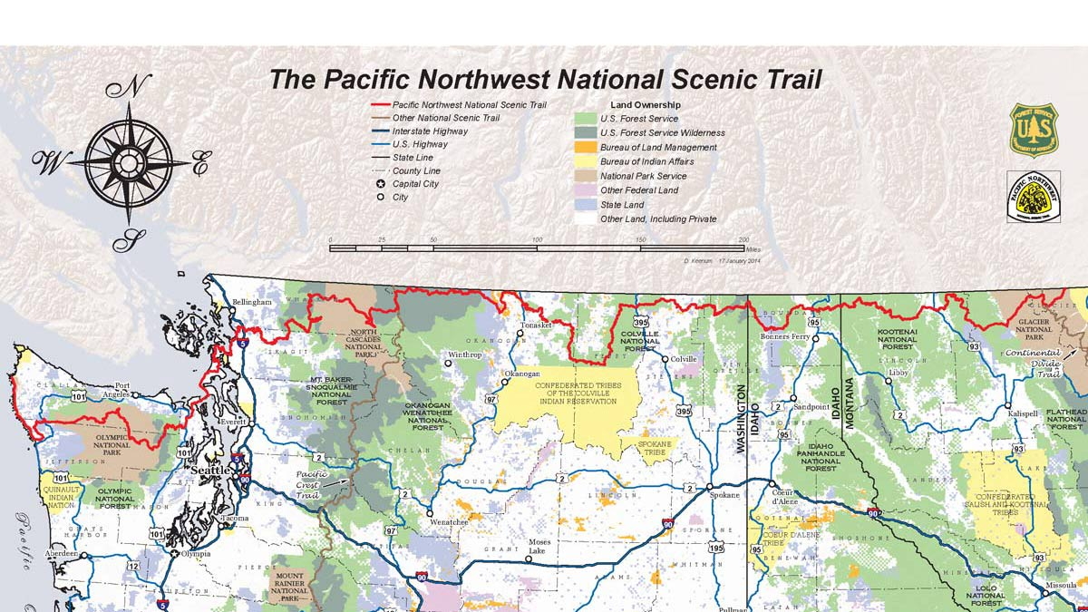 A map of the Pacific Northwest National Scenic Trail.
