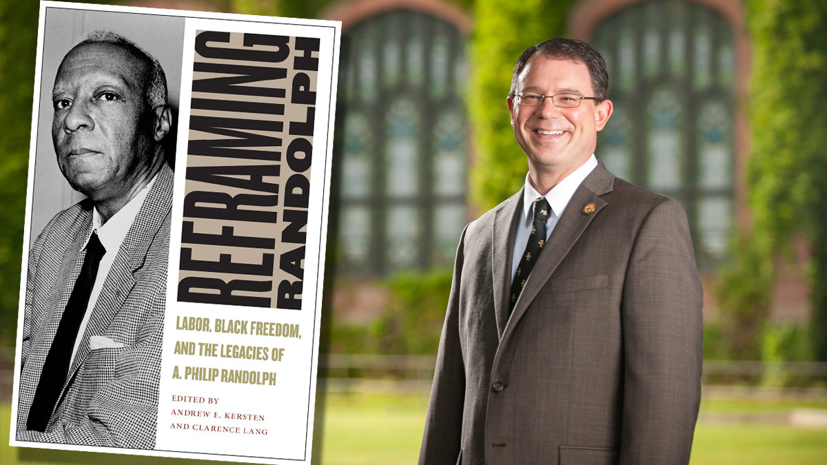 "Dean Andrew Kersten with a his book ""Reframing Randolf."""