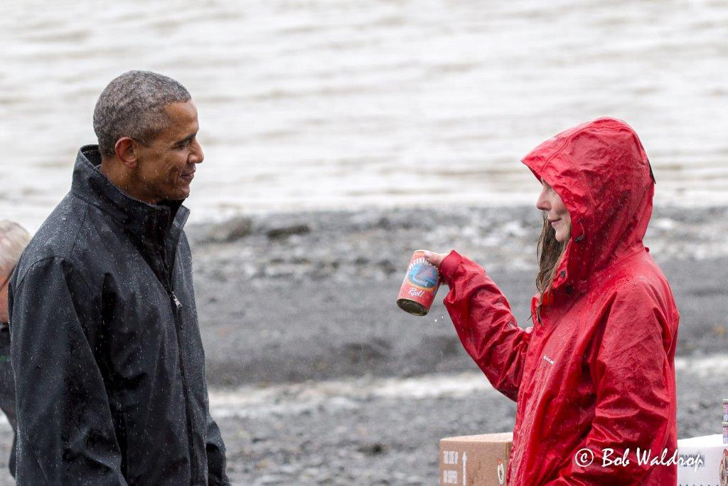 Katherine Carscallen shows President Barrack Obama a can of their fish.