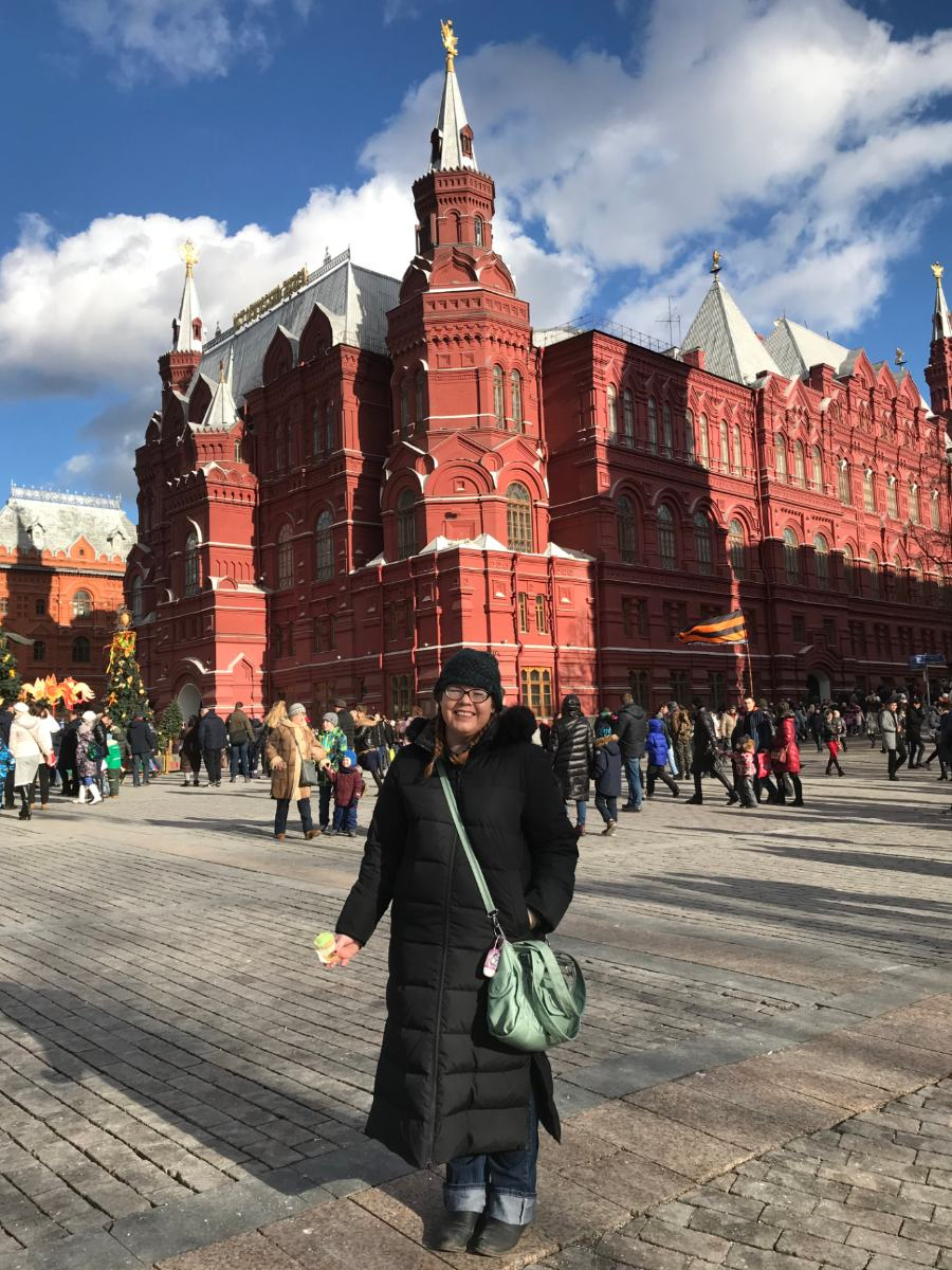 Jaime Shaffer in front of the Red Square in Moscow, Russia