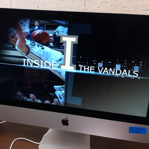 The screen of a Macintosh showing the title screen for Inside the Vandals