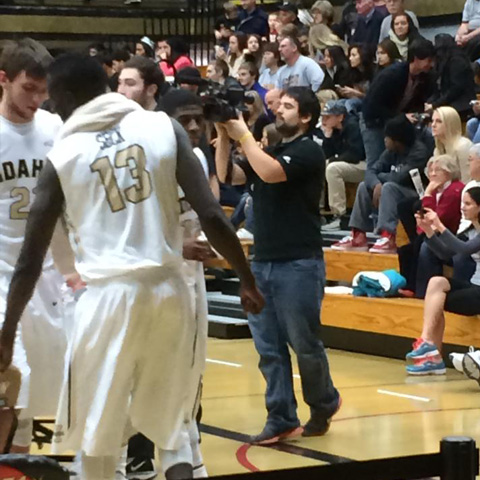 Nathan Romans records men's basketball for Inside the Vandals.