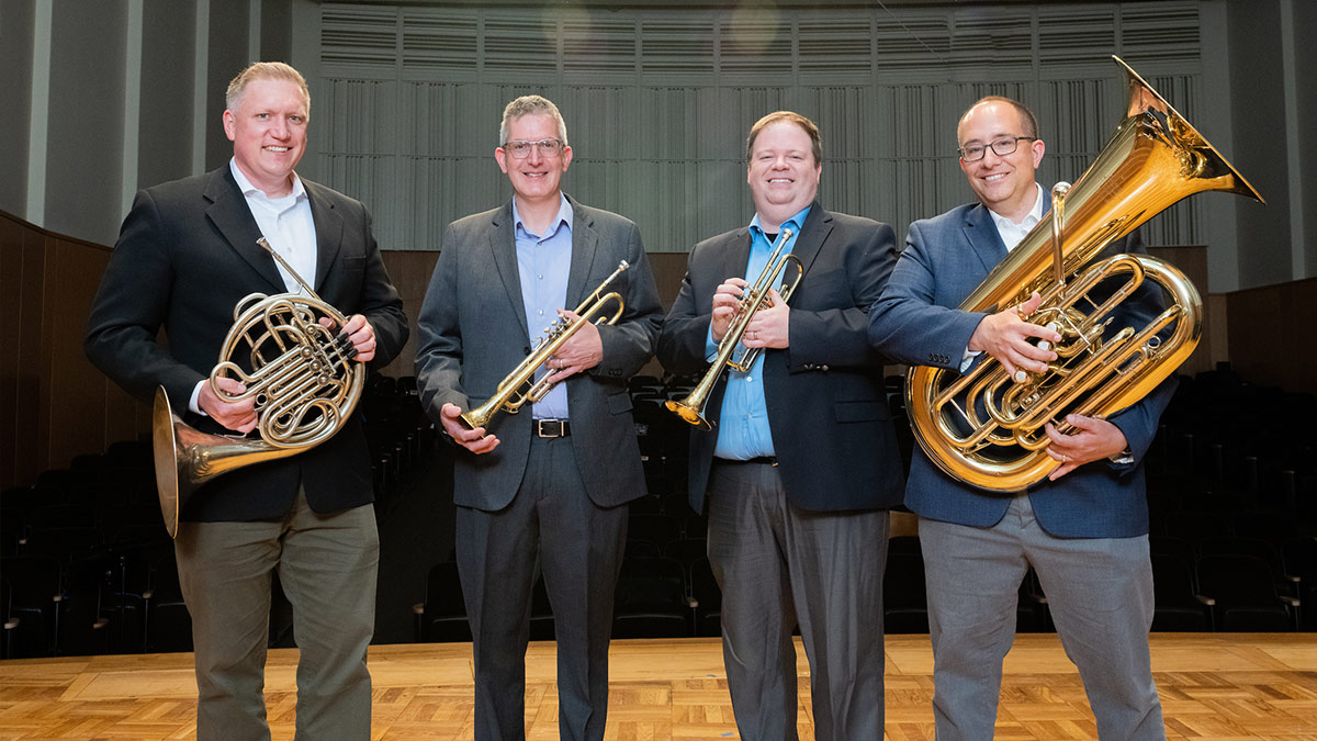 The Idaho Brass Quintet after a performance in August, 2015.