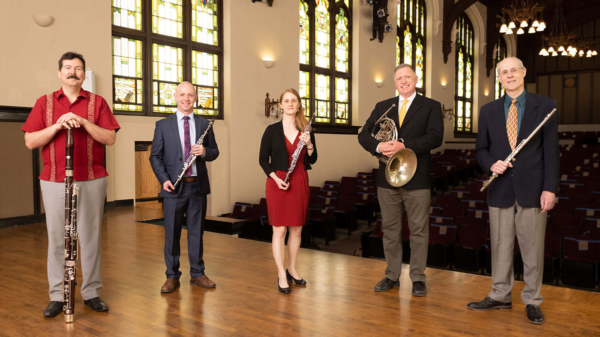 The Northwest Wind Quartet is bassoon professor Javier Rodriguez, assistant director and flute professor Leonard Garrison, oboe professor Carol Padgham Albrecht, clarinet professor Shawn Copeland and French horn professor Jason Johnston.