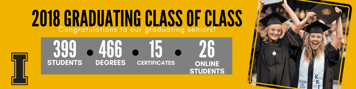 Graduating class of CLASS: 399 students, 466 degrees, 15 certificates, 26 online students