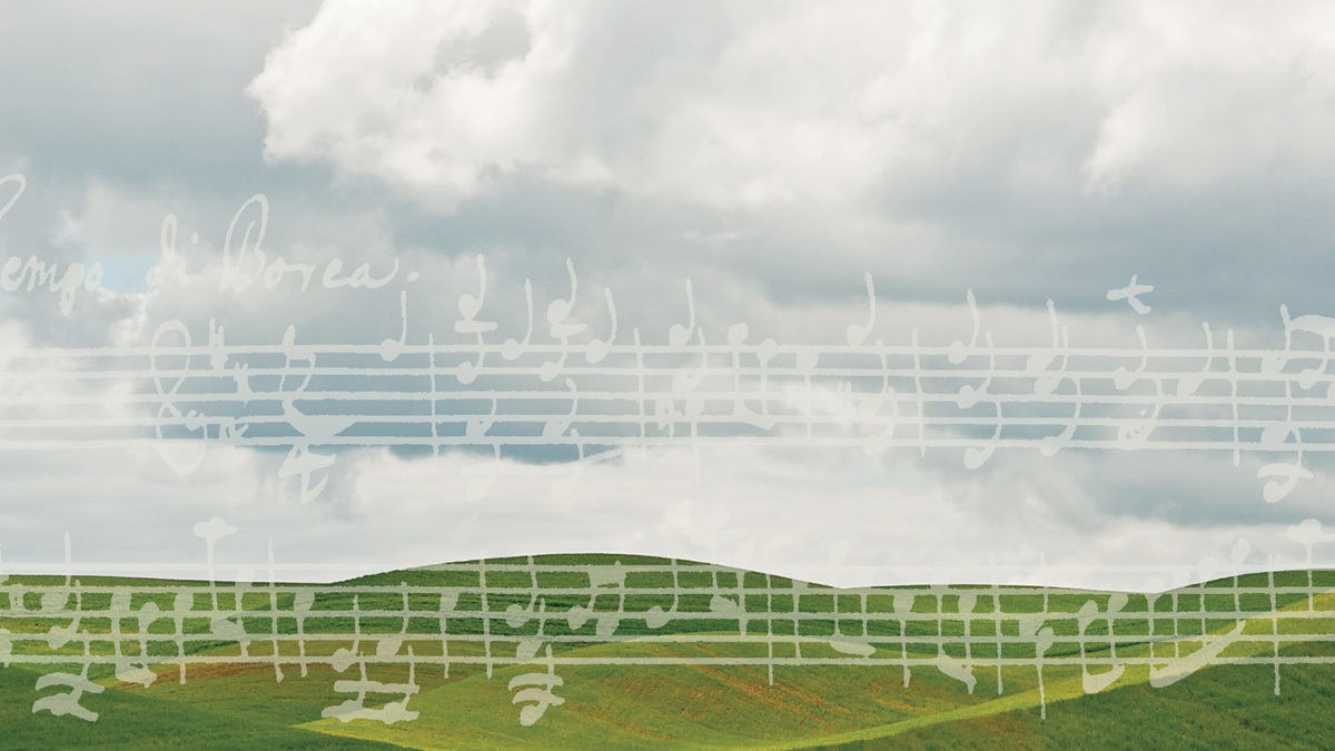 The hills of the Palouse, overlaid with musical staff and notes.