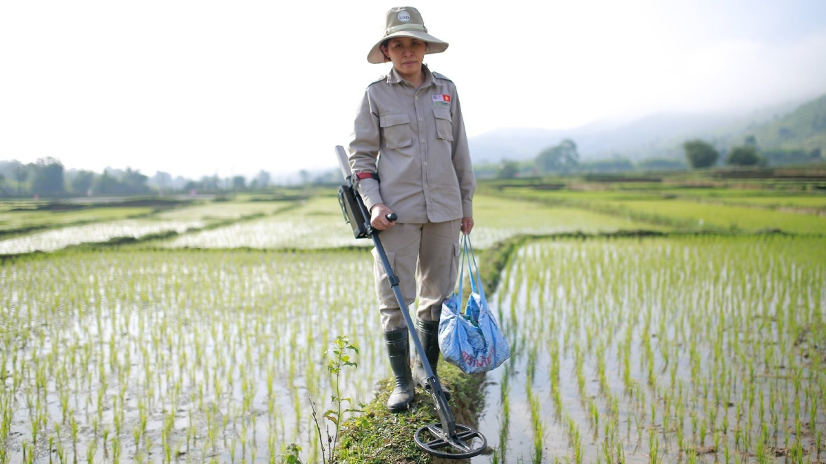A Vietnamese woman stands in a rice field with a metal detector
