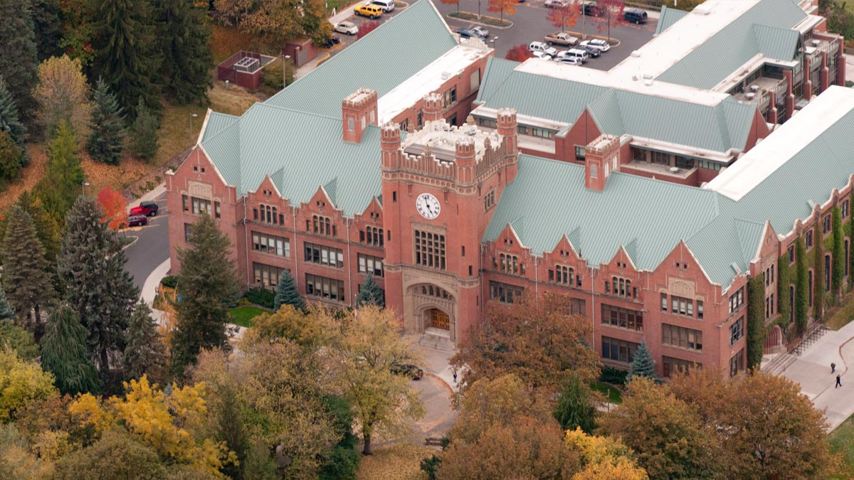 An aerial shot of the Administration Building.