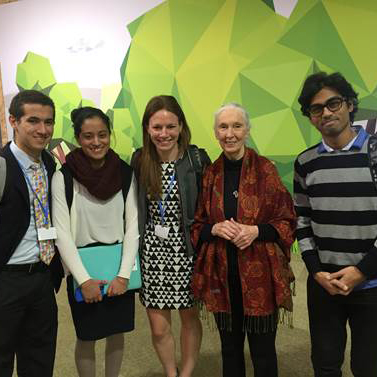 Jill Leaness with fellow ACS student delegates and Jane Goodall