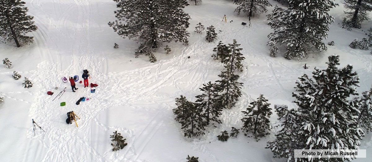 Aerial photo of snowy scene in McCall