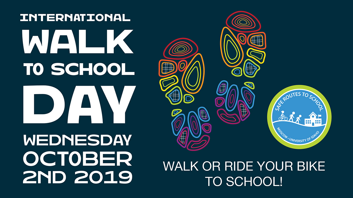 International walk to school day poster, Oct 2 2019