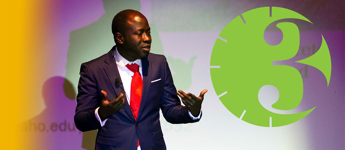 Presenter during three minute thesis competition