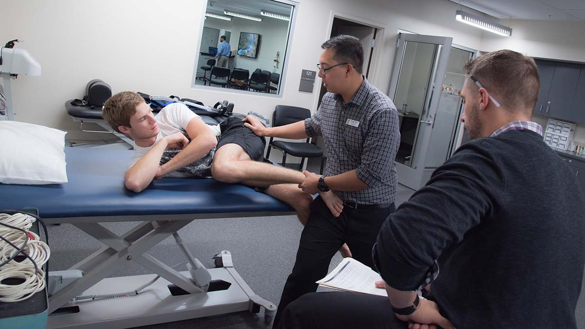 A professor supervises a student in the athletic training clinic.