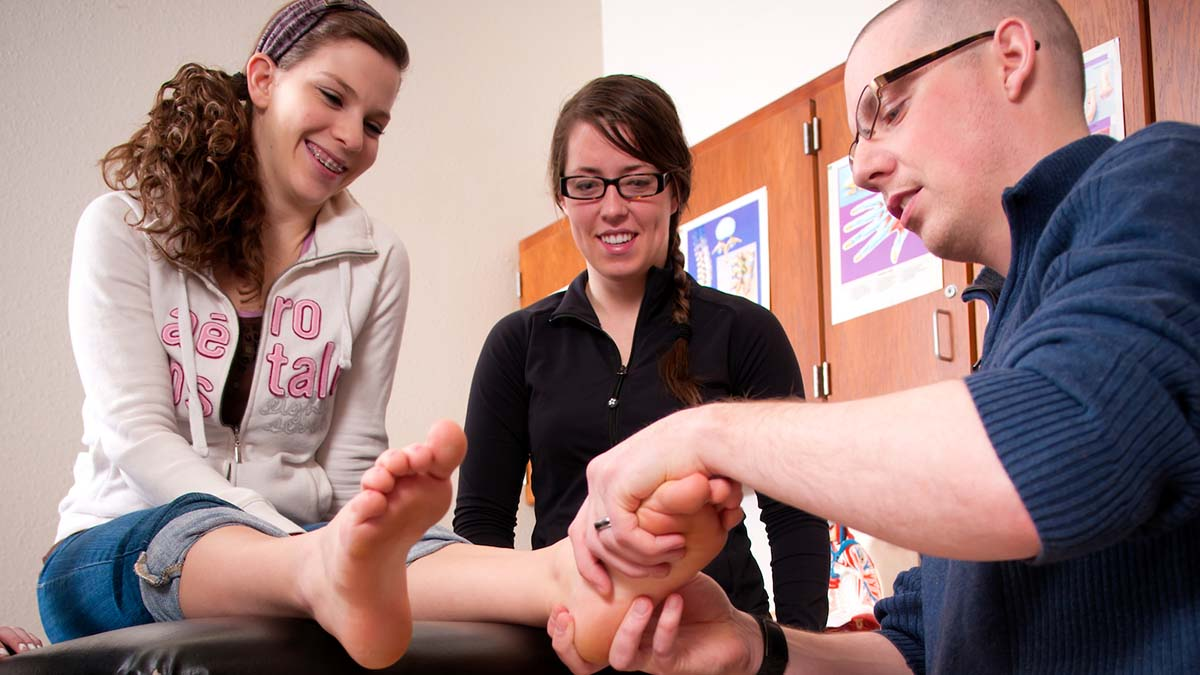 College of Education faculty Jeff Seegmiller Athletic Training lab for hands work for students