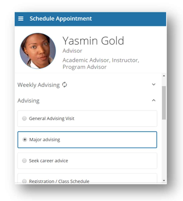 Scheduling an Advising Appointment
