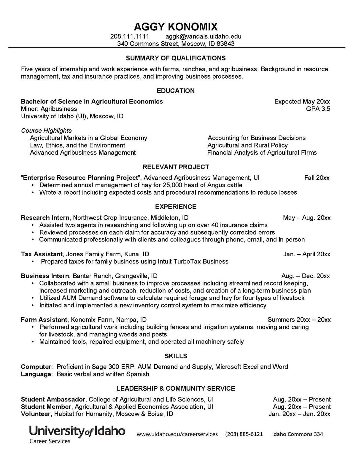 College of Agricultural and Life Sciences Sample Resume Preview