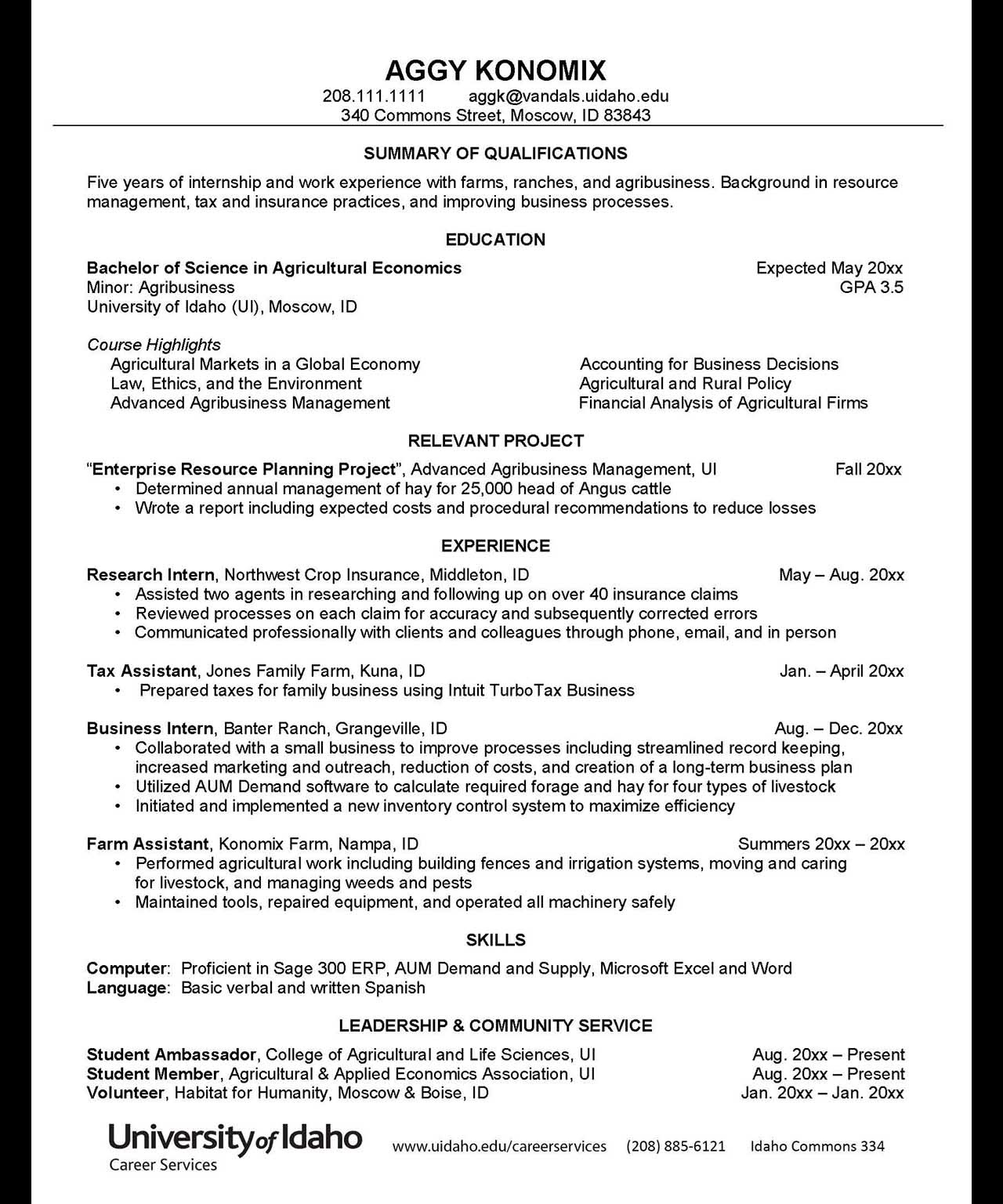 Resumes And Cvs Career Services University Of Idaho
