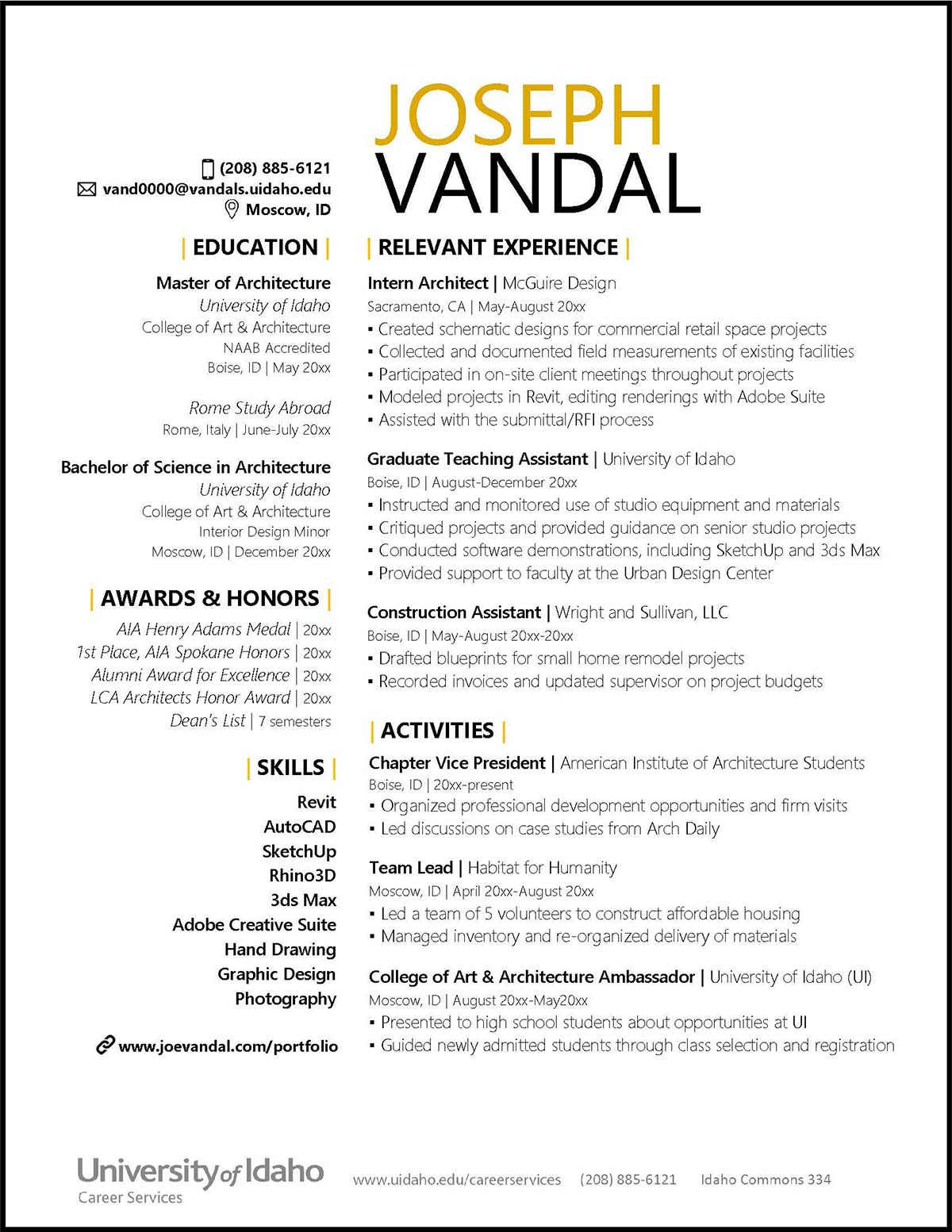 College of Art and Architecture Sample Resume Preview