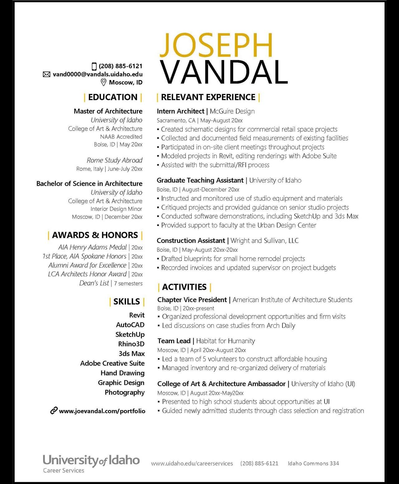 Resumes And Cvs Career Services University Of Idaho