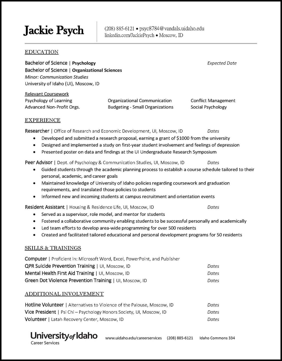 College of Letters, Arts and Social Sciences Sample Resume Preview