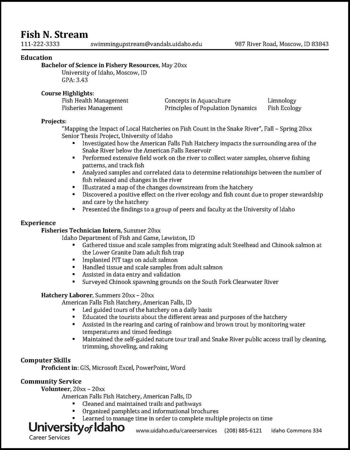 College of Natural Resources Sample Resume Preview