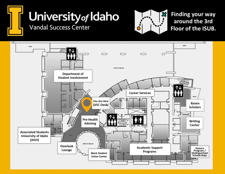 Map of the Vandal Success Center on the third floor of the Idaho Student Union