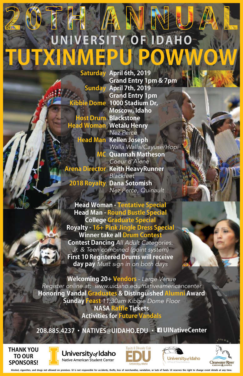 20th Annual University of Idaho Tutxinmepu Powwow Poster and Schedule