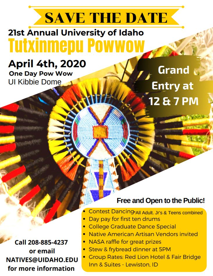 Save the Date poster for the 21st Annual Tutxinmepu Powwow