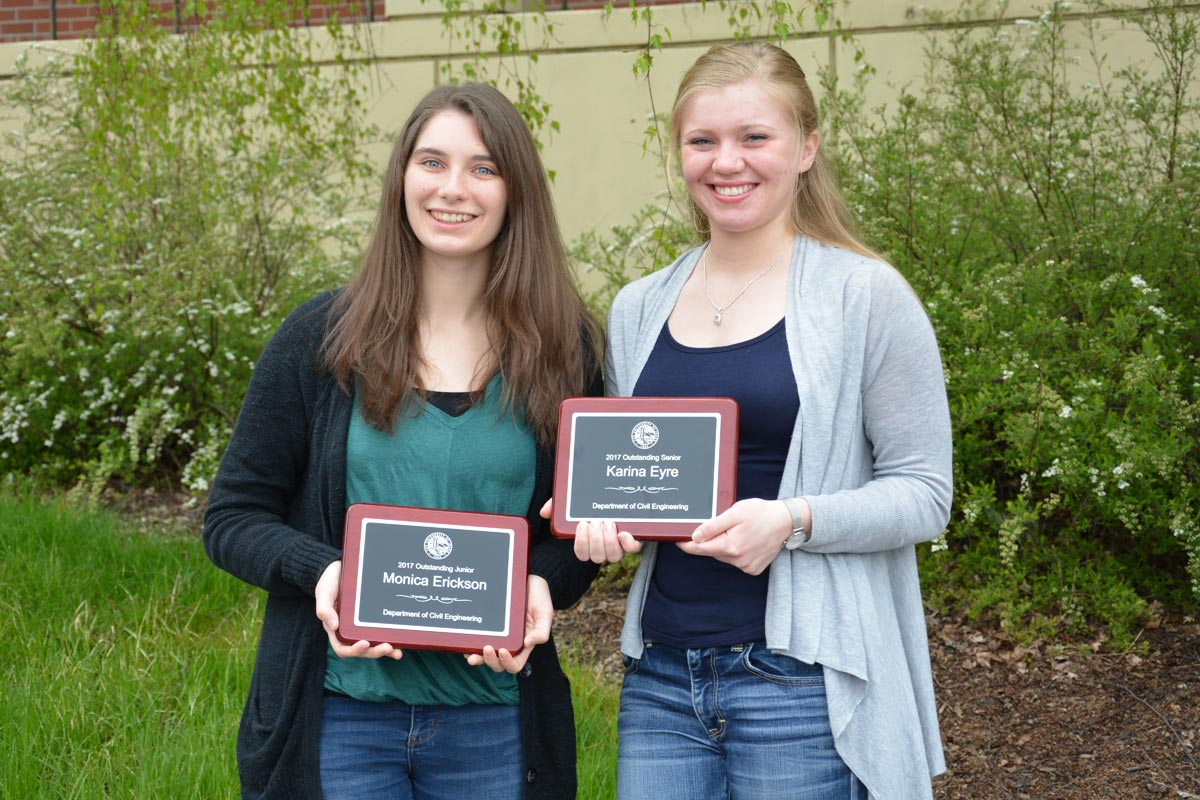 Monica Erickson, Outstanding Junior and Karina Eyre, Outstanding Senior
