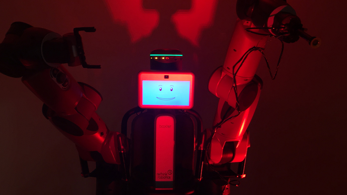 Baxter the Robot with sinister underlighting