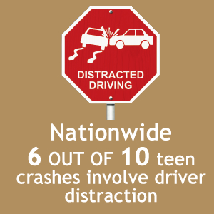 Text: Nationwide, 6 out of 10 teen crashes involve driver distraction