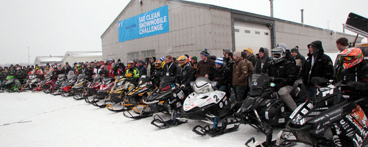 Vandal Snowmobile team lines up at starting point with other competitors in SAE International Clean Snowmobile Challenge (CSC)