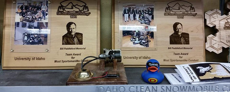 Various trophies won on display for Vandal Snowmobile Team