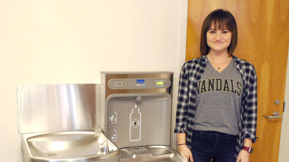 Andrea Boyd with Water Refill Station