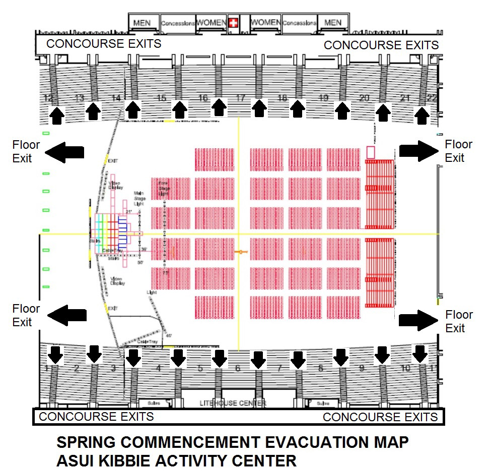 May Commencement Evacuation Map, showing two exits on both the east and west corners of the Kibbie and along each row in the stands