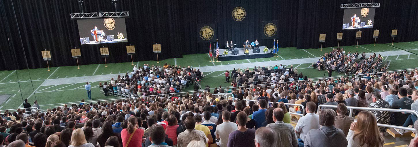 Students, faculty and staff gather within the Kibbie dome for University Convocation.