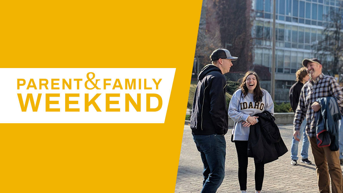 "A student and her family share a laugh, superimposed with the text ""Parent and Family Weekend"""